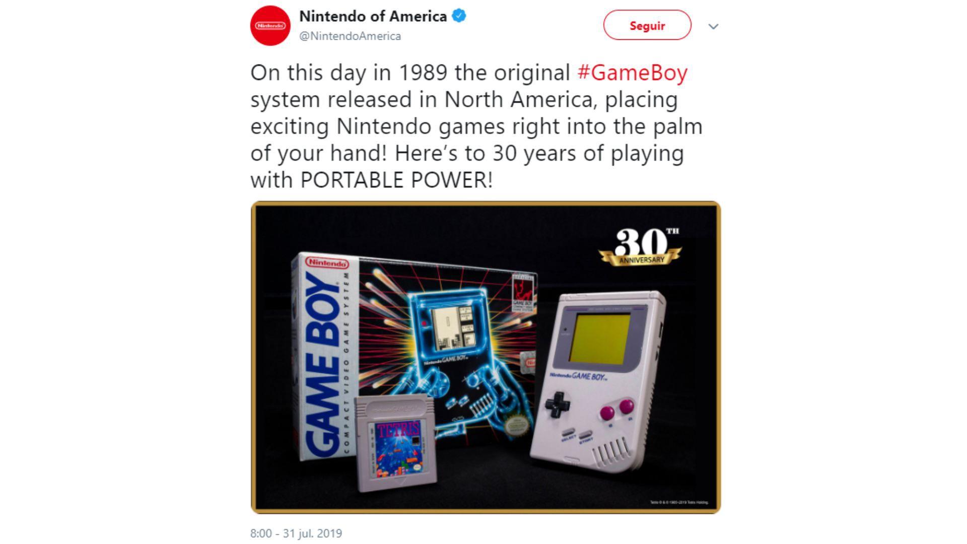 La cuenta de Twitter de Nintendo en Estados Unidos conmemoró esta fecha crucial en los videojuegos (Foto: Twitter Nintendo of America)