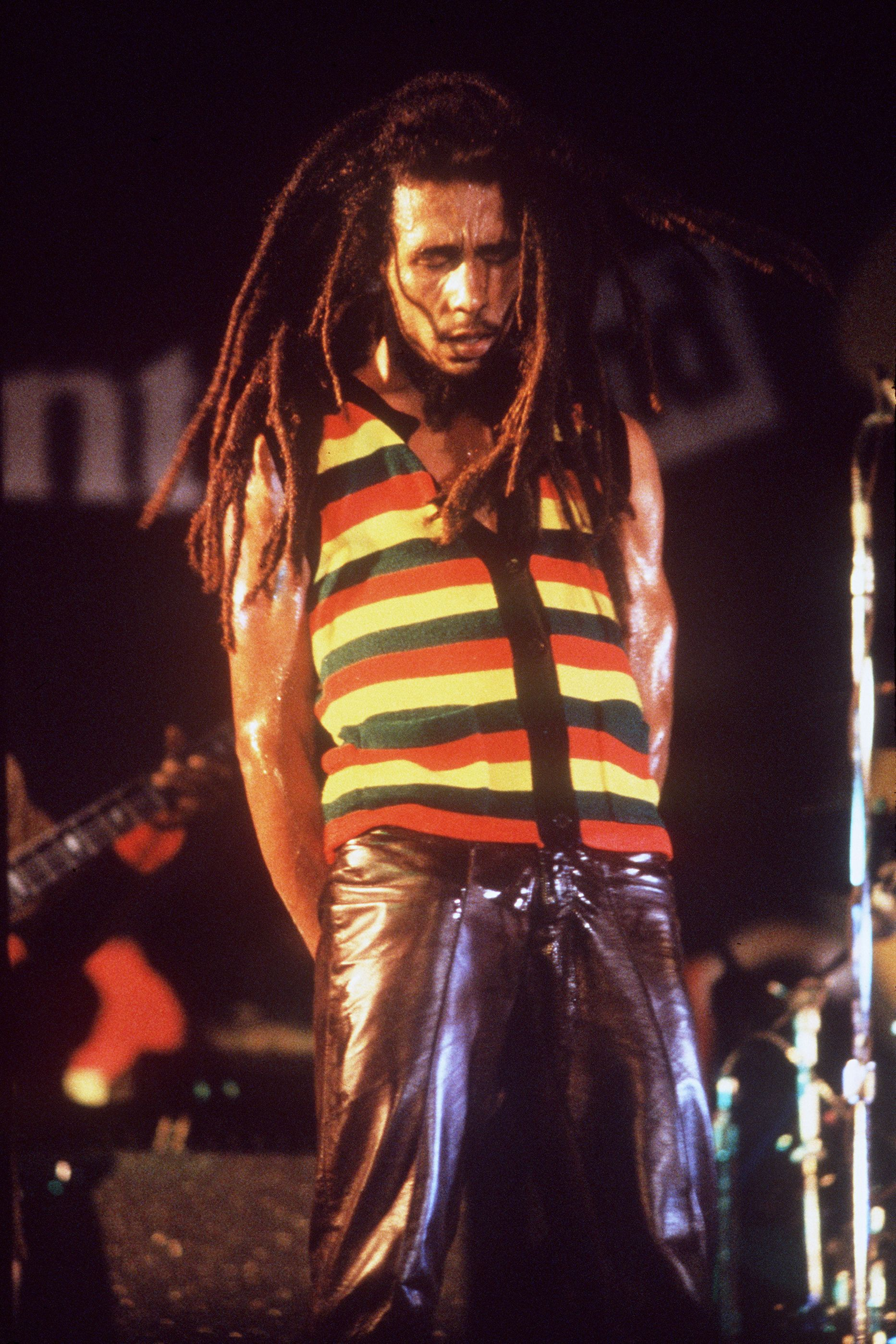 Bob Marley en 1979, durante el Raggae Sunsplash II, su último concierto en Jamaica (Peter Murphy/Fifty-Six Hope Road Music Ltd./REUTERS)